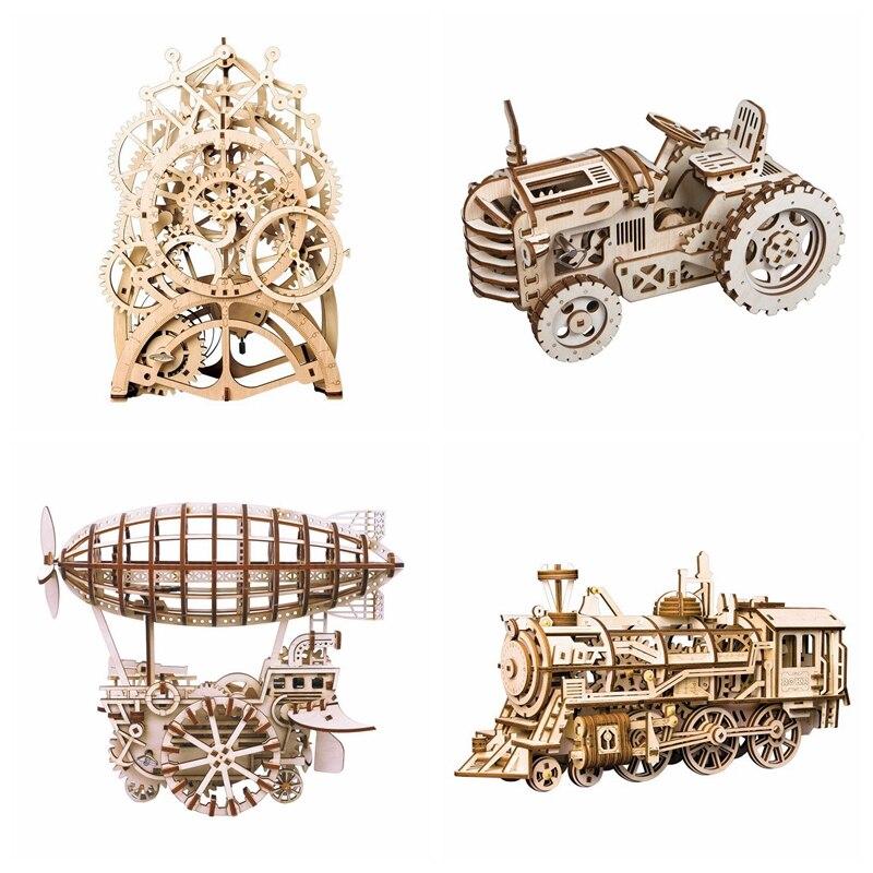 Robotime 8 tipos DIY engranaje mecánico de madera Model Building Kits Asamblea Toy regalo para niños adolescentes adultos LGLK