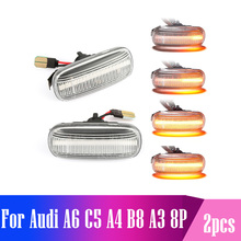 For Audi A6 C5 A4 B8 A3 8P S3 S4 S6 Car LED Dynamic Side Marker Turn Signal Light Indicator Blinker Repeater Car Fender Lights