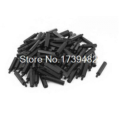 M3 25+6mm Male Female Thread Nylon Hex Standoff Spacer Screws PCB Pillar 100pcs m3 spacer hex standoff pcb hex nuts nylon black pillar female to female