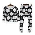 2016 New Outono crianças meninas conjuntos de roupas de moda grande flor de manga comprida T-shirt + calças harém roupas conjuntos para meninos