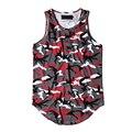 Camuflaje Ampliado Streetwear Tank Top Hombres 2017 Verano Dobladillo Curvado Camo Hip Hop Tank Top del Diseño Largo de 6 Colores