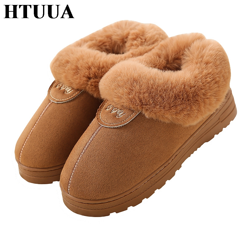 HTUUA Cotton Slippers Shoes Woman House Couples Plush Winter Women Indoor Warm SX1920