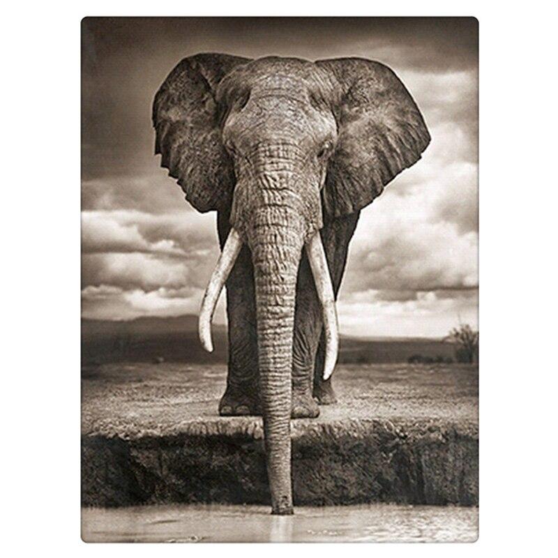 Pintura diamante DIY fijó beber elefante 30x40 cm diamante cuadrado de resina completa rhinestone decoración rhinestone pegado imagen ZX