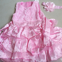 New Pink Girls Kids One Piece Pink Princess Dress Tutu Dress Elegant Girls Wedding Dresses Baby