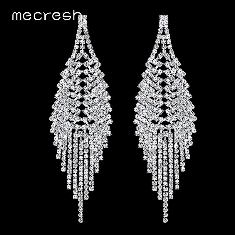 Mecresh Crystal Tassel Earrings for Women Big Rhinestone Bridal Drop Brincos Romantic Wedding Jewelry Christmas Gift MEH780 цена