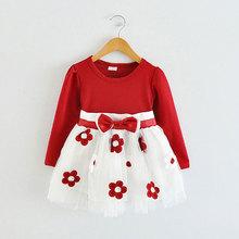 2015 wiosenny i jesienny nowy urodzony niemowlę bawełniana sukienka dla dziewczynek odzież z długim rękawem sukienki księżniczki na przyjęcie tutu sukienka vestidos tanie tanio Dla dzieci Dziecko dziewczyny BarbieRabbit Powyżej kolana Mini Suknia balowa Pełna tutu dress Łuk Patchwork REGULAR