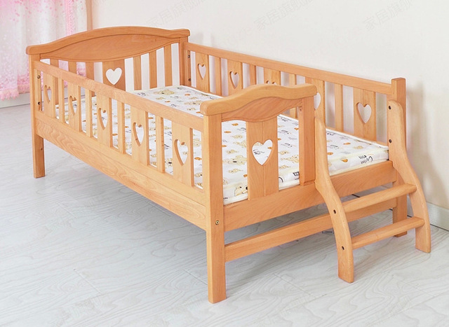 Children Beds Furniture Solid Pine Wood Kindergarten Bed Fashion With Ladder Guardrail Cot