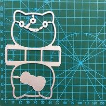 1PCS Cute cat cutting die+1PCS carft Tag Stencil For DIY Scrapbook Paper Card Decorative Craft Embossing Die Cut