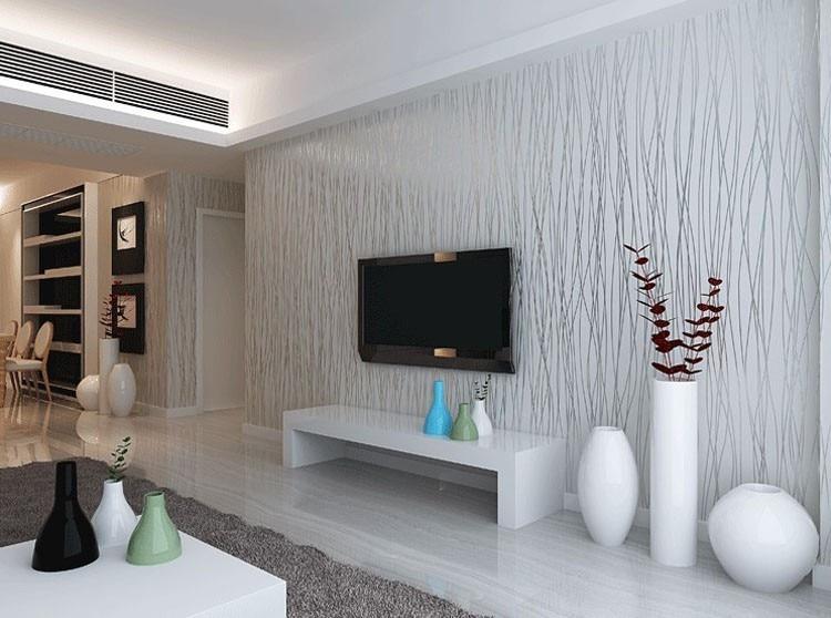 Moderne Einfache Art 3D Silber Grau Beflockung Non Woven Mode Streifen  Tapeten Für Wohnzimmer Oder