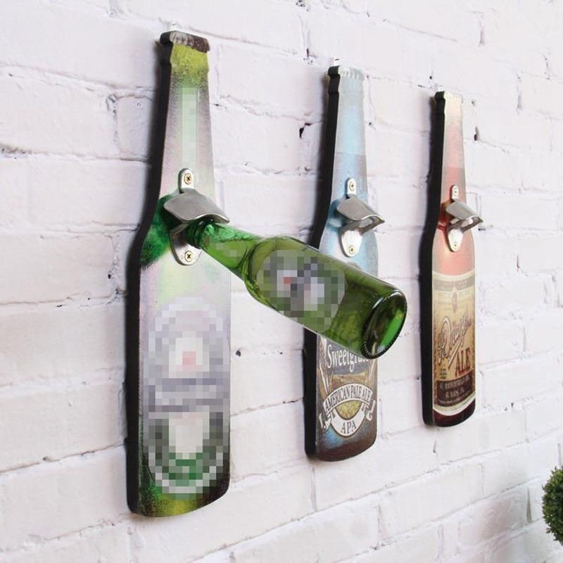 Wine Bottle Shape Opener Creative Retro Practical Multi-Scene Wall-Mounted Decorative Bottle Opener Eco-Friendly Kitchen Tools