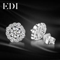 EDI Forever Brilliant 0.5CT Round Cut Moissanites Diamond 14K 585 White Gold Stud Earrings For Women Wedding Fine Jewelry