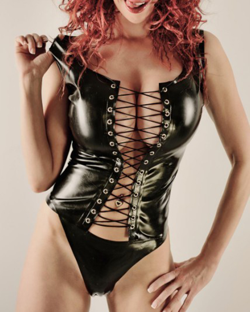 Suitop sexy women's female's rubber latex lingerie set including bras and briefs main in black and