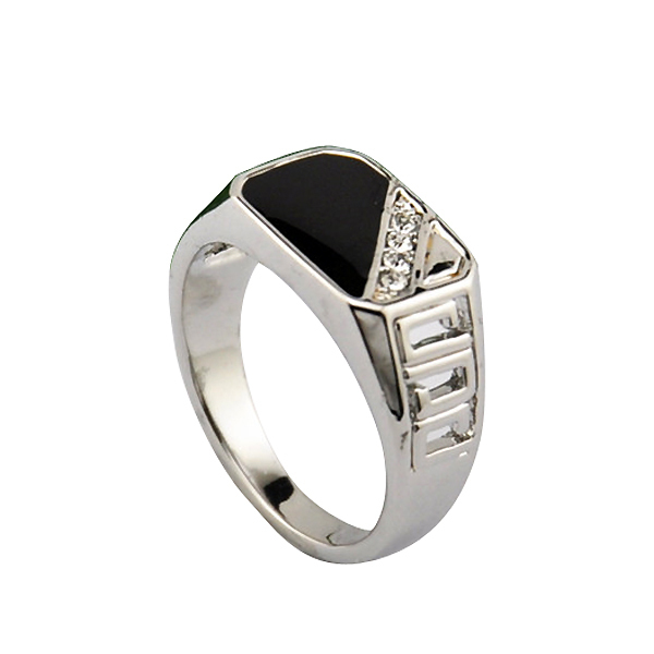 Vintage Titanium Steel Ring With Black & Rhinestone Encrusted