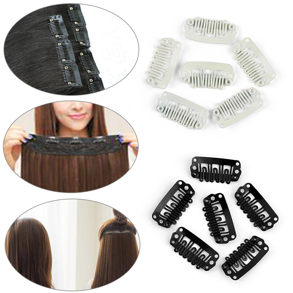 10/20pcs Hair Extension Clips Snap Metal Clips With Silicone Back Clip HairStyling Metal Pin Hair Extensions U Shape Comb