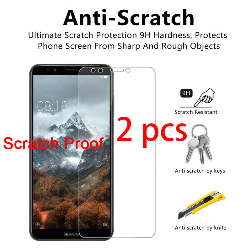 2 Pcs! Kaca Pelindung untuk Huawei P20 Pro P10 Plus P9 Lite Toughed Pelindung Layar Anti Gores Huawei P8 Lite