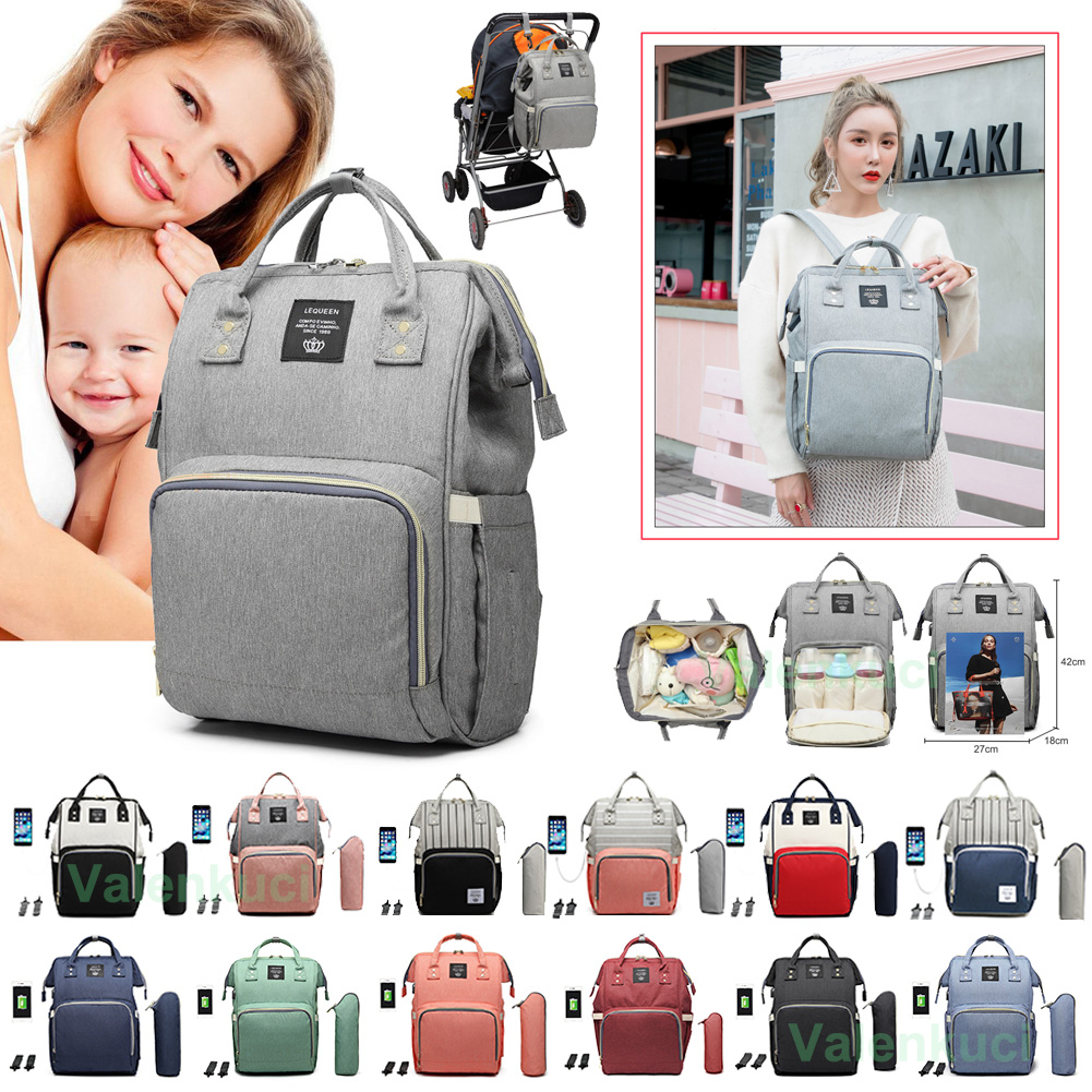 Diaper Bag USB Mummy Striped Maternity Nappy Bag Large Baby Bag Backpacks Bolsa Maternidade Designer Nursing Bag For Mother Baby