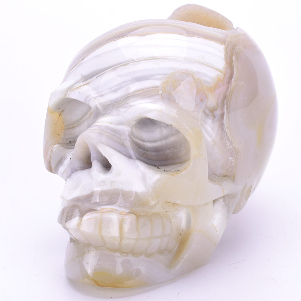 3.9''Natural Agate Geode Carved Quartz Crystal Skull Carving Statue Healing Stone Skull Sculpture Home Decor Art Collection