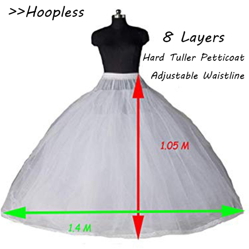 Elegant A Line Women Wedding Petticoat Underskir 8 Layers Net Crinoline Underskirts Wedding Accessories  2019