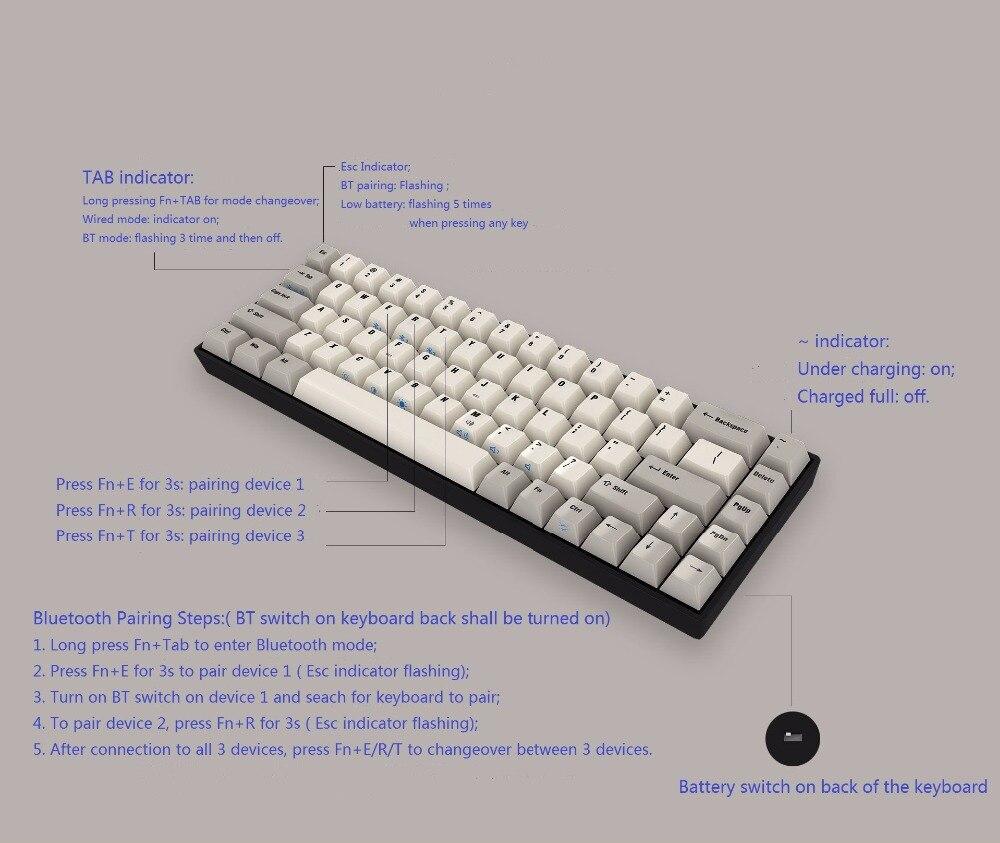 Bluetooth Mini 68 Keys Mechanical Keyboard BT Portable Cherry Switches White LED  Dye Sub PBT Keycap Tada68 Pro Programmable