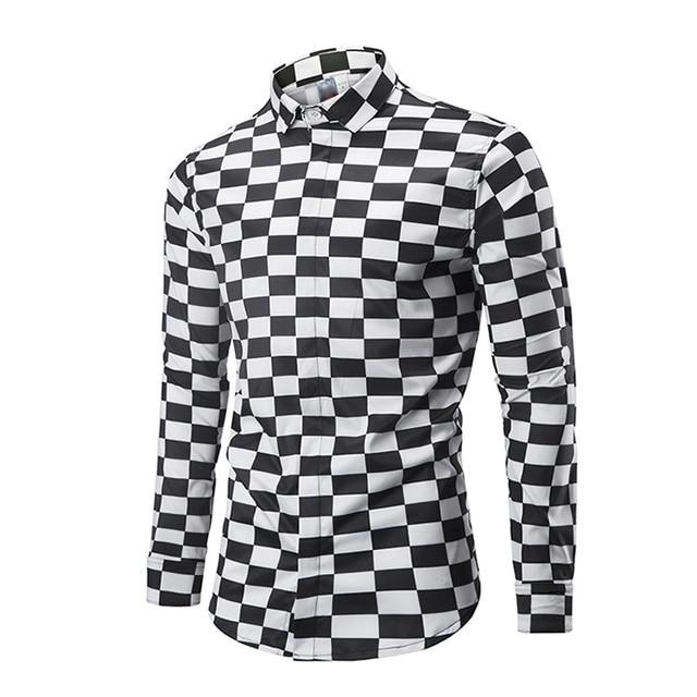 f2194887 ONSEME Black And White Lattice 3D Printed Shirts Camisa Masculina Mens  Vertigo Hypnotic Square Graphic Shirt Male Casual Shirts