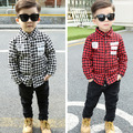 Baby Boys Plaid Shirt, Cotton Casual Outerwear Long Sleeve Blouse Children Clothing, 2016 Autumn Spring Winter Kids Boys Clothes