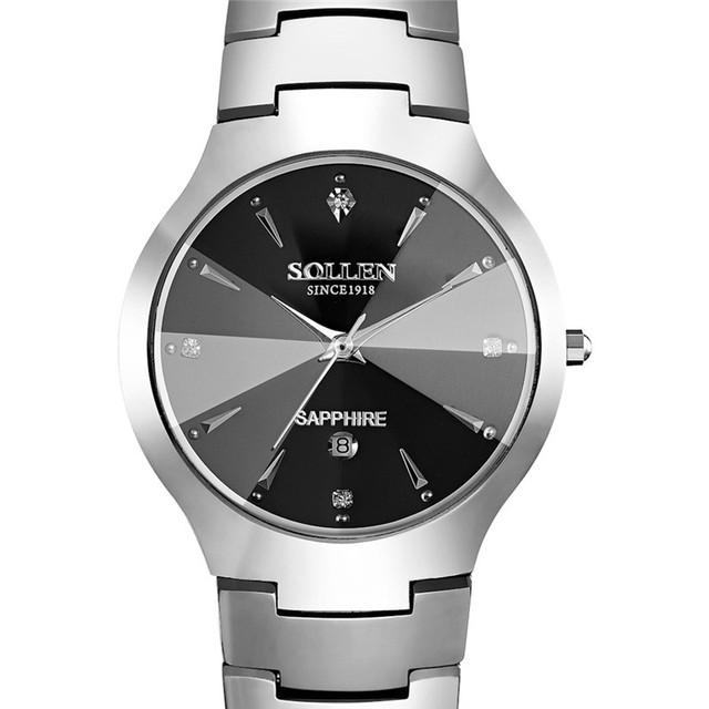 2016 Nova SOLLEN Para Marca de Relógios De Luxo Mulheres e homens Relógio de Quartzo Diamante Mulheres Relógios de Ouro À Prova D' Água relogio