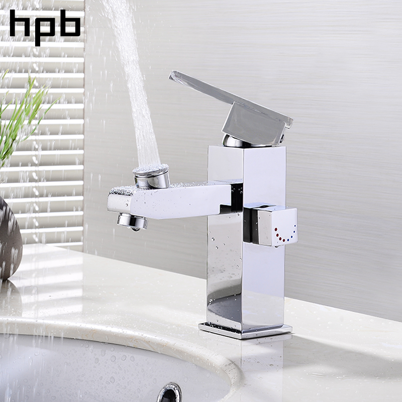 HPB 2017 Innovate Upper Spray Design Basin Mixer Faucet Bathroom Sink Tap Hot And Cold Water Square Style Single Handle hpb square brass basin faucet hot and cold water single hole handle sink bathroom faucets mixer tap grifos para lavabos hp3037