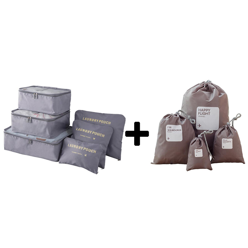 Nylon Packing Cube Travel Bags Zipper Waterproof 6 Pieces One Set Big Capacity Of Bags Uni Clothing Sorting Storage Bags