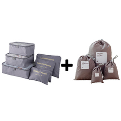 Nylon Packing Cube Travel Bags Zipper Waterproof 6 Pieces One Set Big Capacity Of Bags Unisex Clothing Sorting Storage Bags