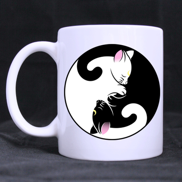 Black And White Cats Personalized Customized Coffee Mugs Beer Mug Ceramic Cups 11 Oz Office