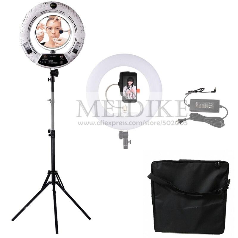 Yidoblo blanc FS-480II Dimmable Pro 2 couleurs réglable beauté salon maquillage 48 W 480 LED Anneau Lumineux Led + 2 M debout + Sac Kit