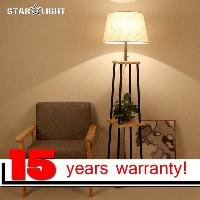 moderne stehleuchte f r wohnzimmer baumwolle material lampenschirm holzst nder stehlampe. Black Bedroom Furniture Sets. Home Design Ideas