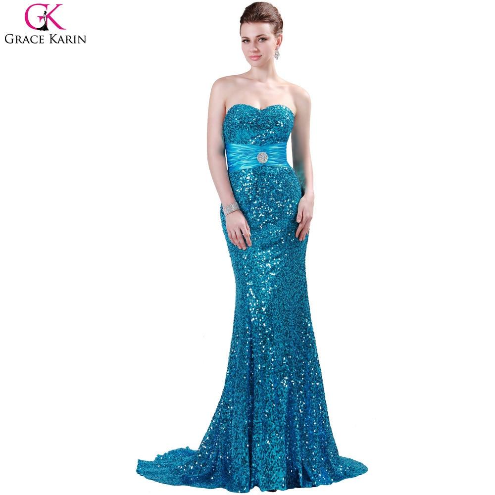 Bridesmaid Dress Mermaid Long 2017 Grace Karin Red Black Silver Blue ...
