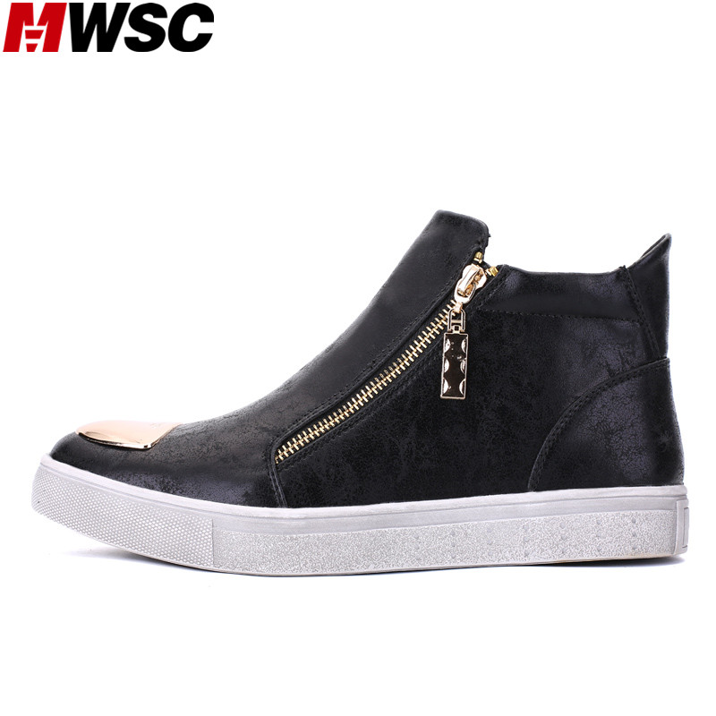 MWSC New High Top Men Casual Shoes Gold Silver Color Male Double Zipper Street Style Sneaker Fashion Shoes valstone 2018 men leather casual shoes hip hop gold fashion sneakers silver microfiber high tops male vulcanized shoes sizes 46