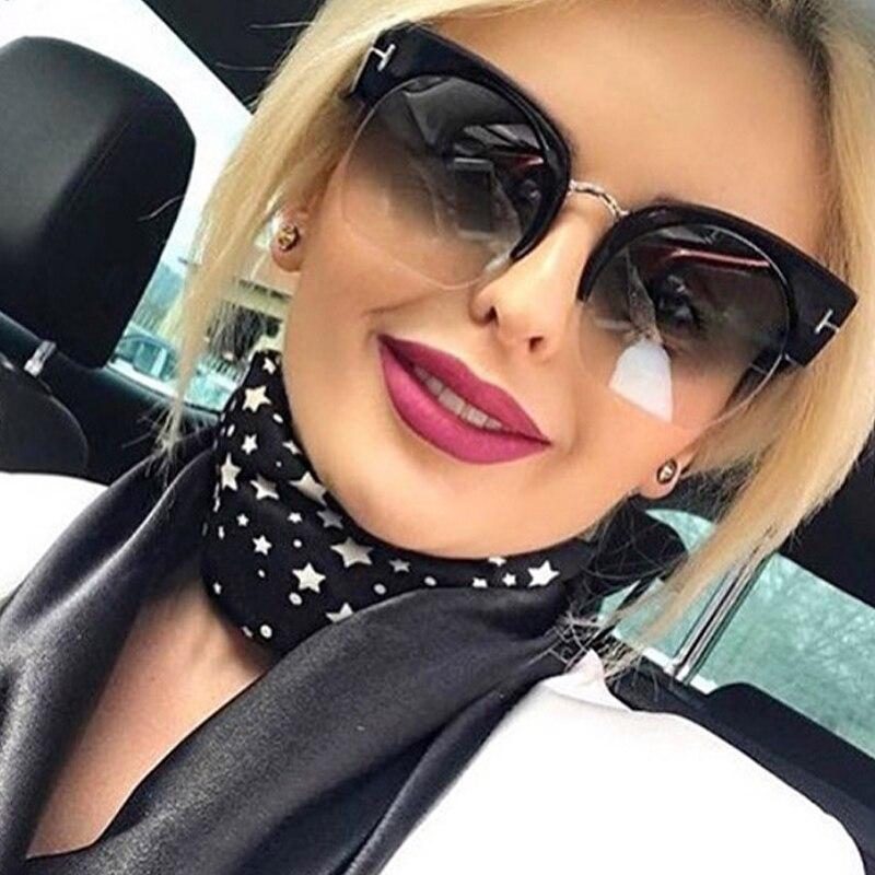 RSSELDN más nuevo Semi-Rimless gafas de sol mujer marca diseñador claro lente gafas de sol para las mujeres moda Sunglass Vintage oculos