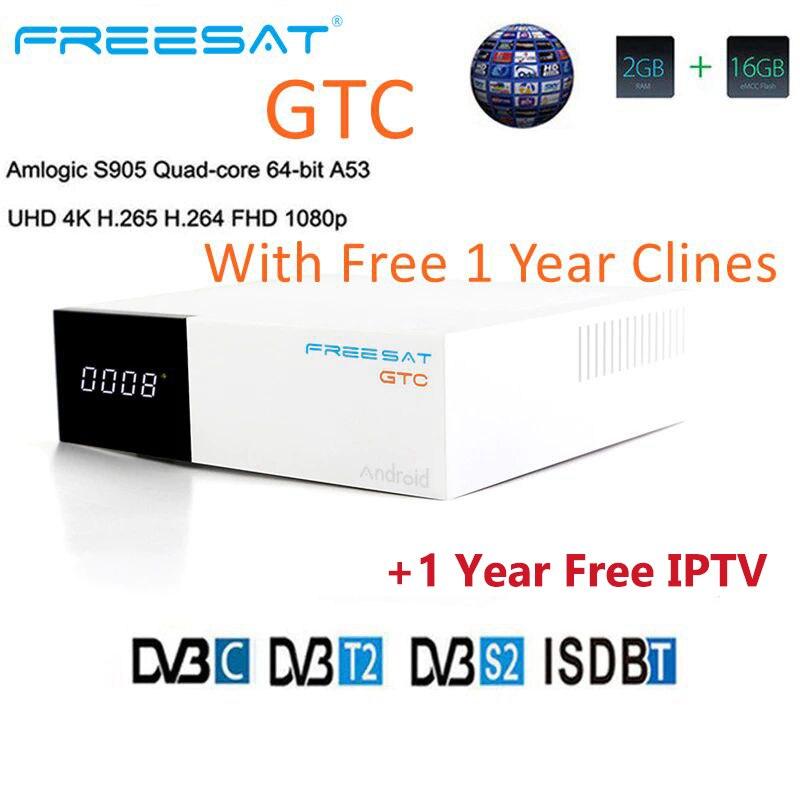 FREESAT GTC Android 6.0 Smart TV BOX S905D 2G DDR3 16G EMMC ROM satellite TV récepteur 4K 3D H.265 Wifi lecteur multimédia play store