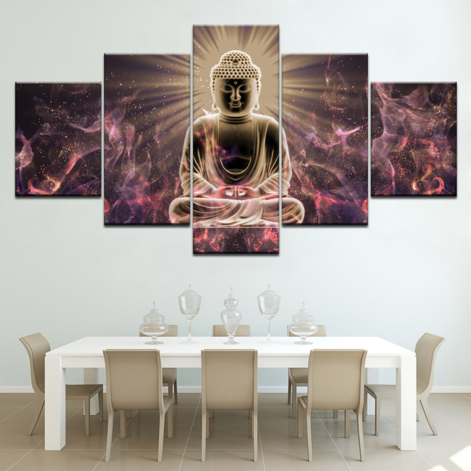 Divine Buddha Canvas Wall Art 5 Piece Canvas Wallpapers modern Modular Poster art Canvas painting for Living Room Home Decor