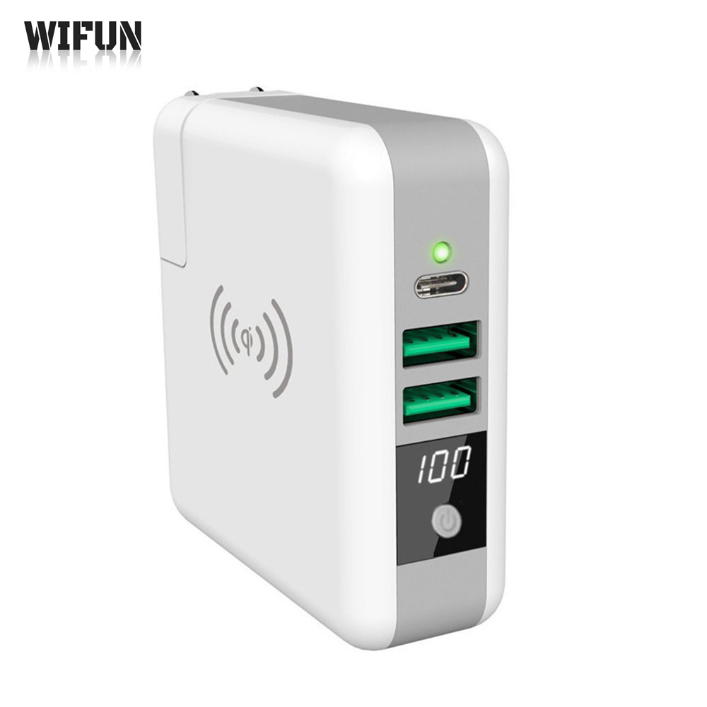 Wifun 3 In 1 mobile phone charger Travel wall charger 6700mAh Power Bank For Smart Qi Wireless Charger For Samsung