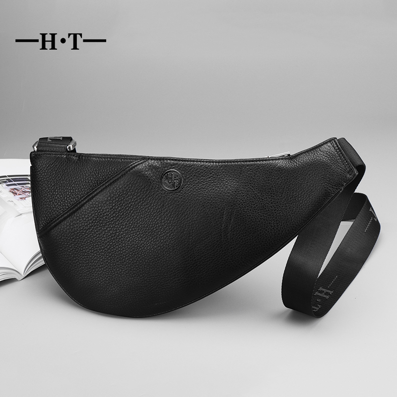 HT Mens Chest Pack Bag Black Genuine Leather Men Wallet Mobile Phone Belt Bag Pouch Pocket Purse Men Travel Fanny Pack Waist Bag