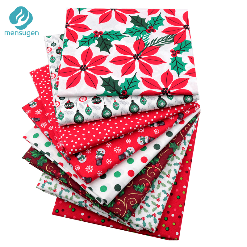 New Half Meter Red Christmas Cotton Fabric For Patchwork DIY Sewing Home Decoration Snowflake Snowman Polka Dot Quilting Fabric