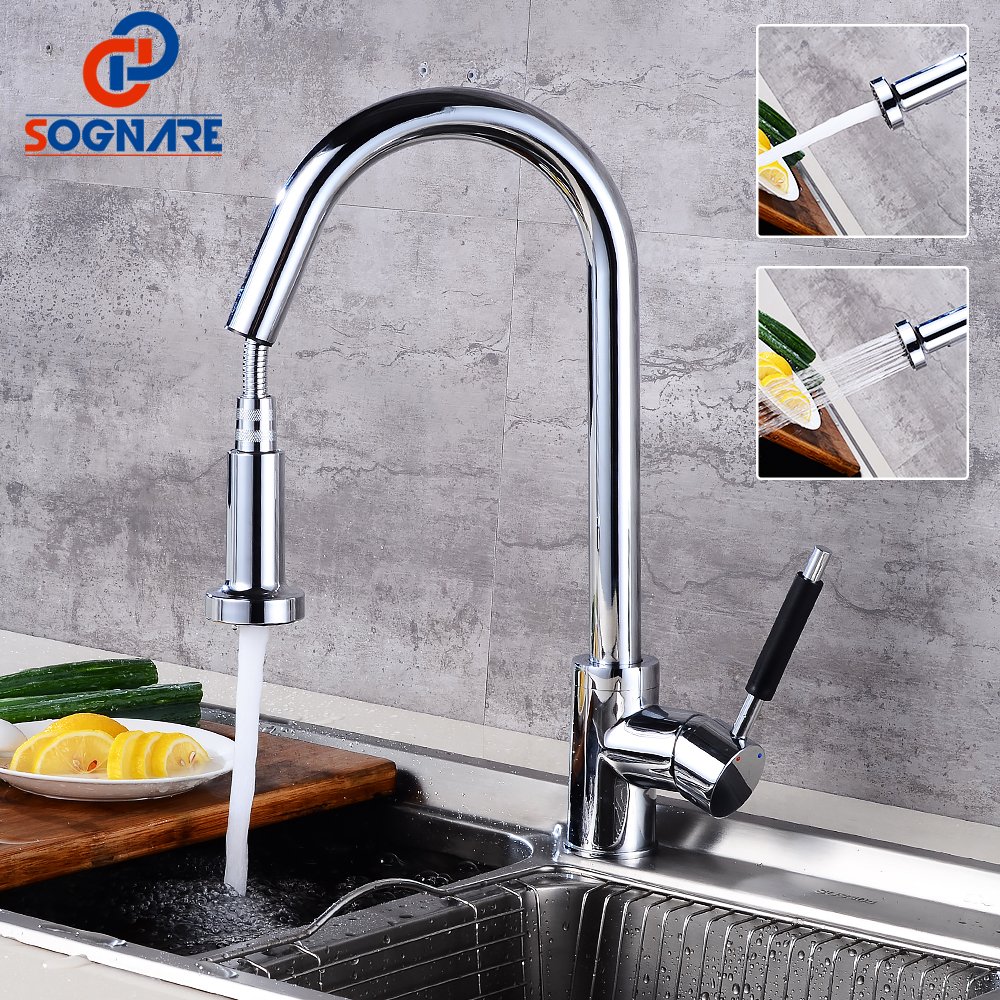 SOGNARE Spring Style Kitchen Faucet Chrome Faucets Pull Out Torneira 360 Swivel Solid Brass 2-Function Water Outlet Mixer Tap