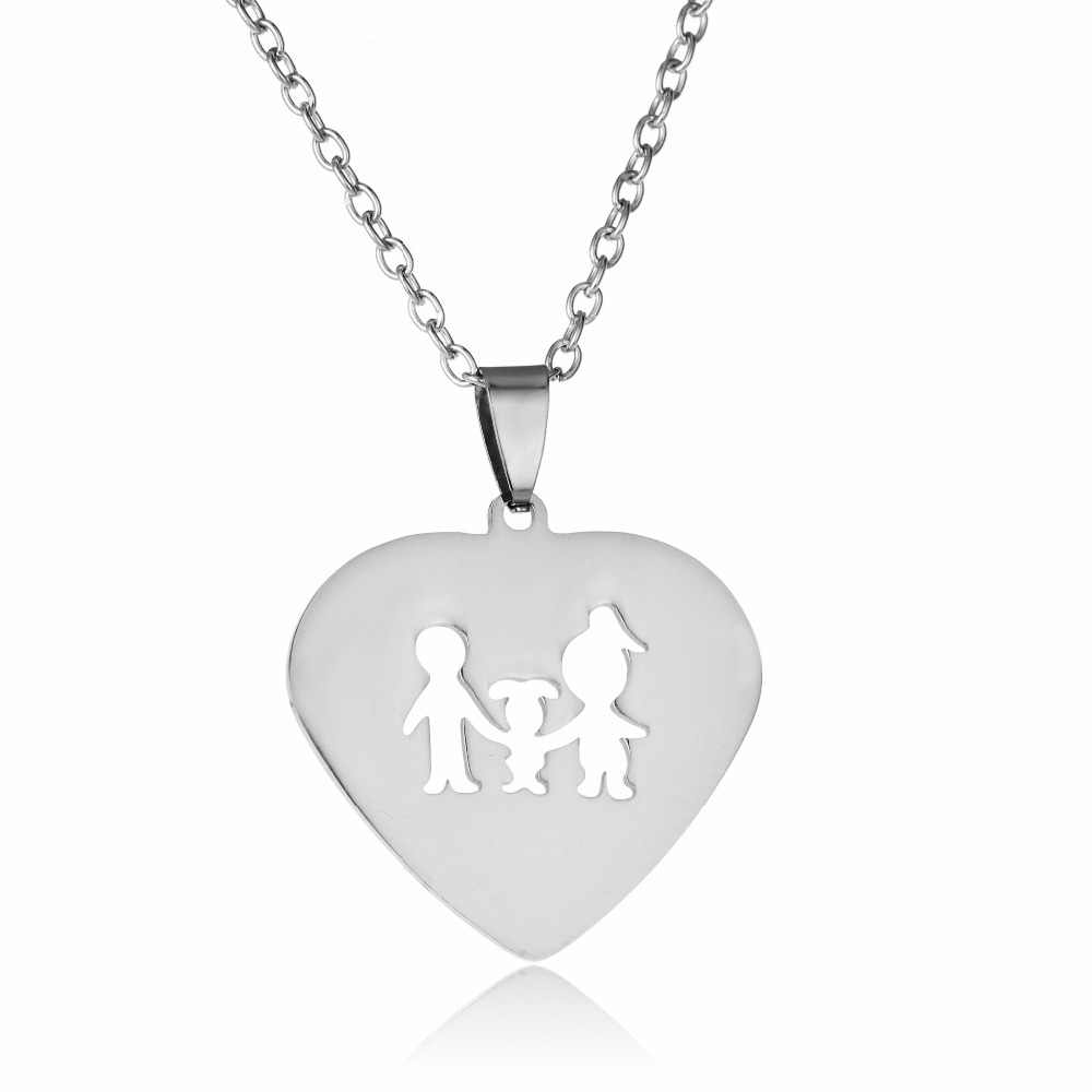 c7011203b ... Stainless Steel Love Heart Pendant Mom Dad Parents Children Charm  Necklace For Family Boys Girls Jewelry ...