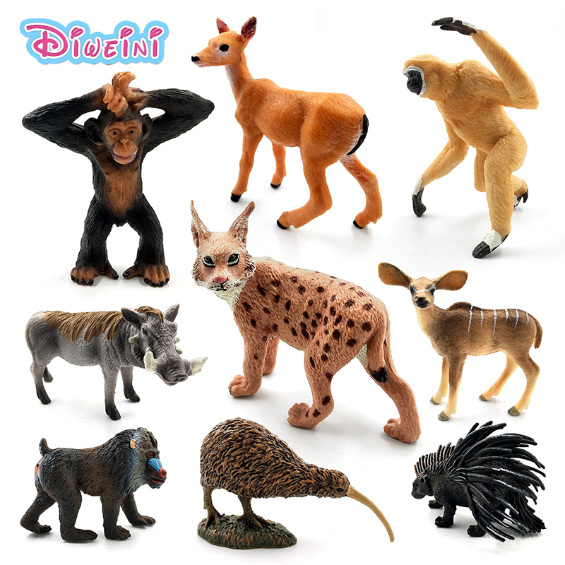 Simulation Deer Warthog Lynx Mandrill Donkey Gibbon Porcupine Kiwi Bird Chimpanzee PVC Animal Model Figurine Toy Garden Figures