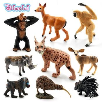 Simulation Deer Warthog Lynx Mandrill Donkey Gibbon Porcupine kiwi bird Chimpanzee PVC animal model figurine toy garden figures
