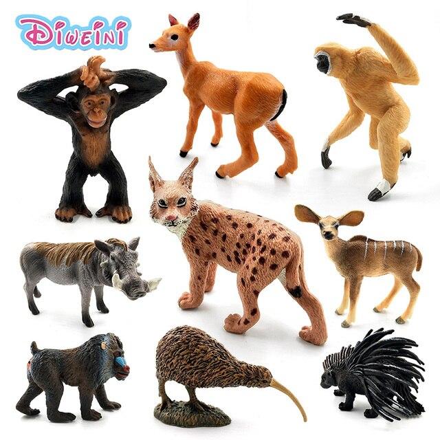 Veados simulação Javali Lynx Mandrill Gibão Burro Porco pássaro kiwi Chimpanzé PVC estatueta modelo animal brinquedo figuras de jardim