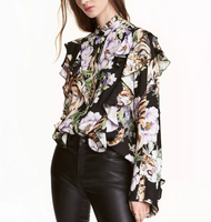 WISHBOP NEW Elegant 2017 Spring Animal Tiger Floral Print Shirt Buttons Up Front With Frills Stand