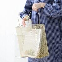 Metal Shopping Basket Storage Basket Handles Debris Sorting Basket Magazine Basket Creative Tide Shopping