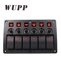 WUPP Professional Switching On/ Off Abs Shell 6 Gang Marine Boat Red Led Rocker Switch Panel With Indicator Overload Protection