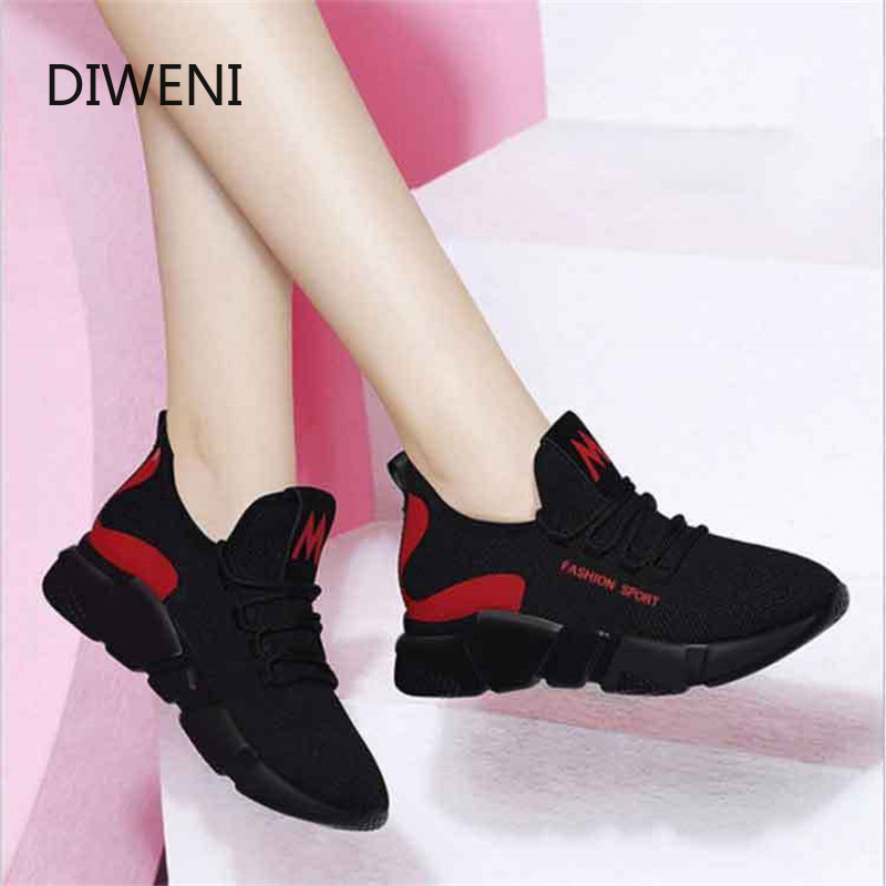 DIWEINI 2019 Summer New Women Casual Shoes Fashion Breathable Lightweight Walking Mesh Lace Up Flat Shoes Sneakers Women B18