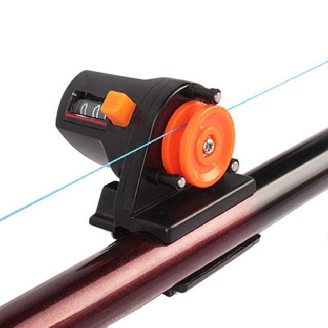 Mechanical Fishing Line Length Counter Tools 0-999M Range Two-ways Metering Fishing Line Depth Gauge Clip On Rod Fishing Tool